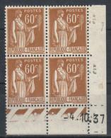 FRANCE  Coin Daté **  Type Paix  60c Brun Orange Yvert 364   -4.10.37  Neuf Sans Charnière - Coins Datés