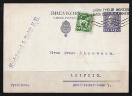 1926 Brefkort → Karlstrand & Boldt Stockholm To Leipzig  ►with Additional Franking◄ - Entiers Postaux