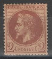 France - YT 26a * - 2c Rouge-brun Foncé Signé - 1863-1870 Napoleon III With Laurels
