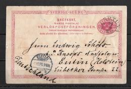1896 Brefkort → Svärtuna To Eutin Holstein - Entiers Postaux