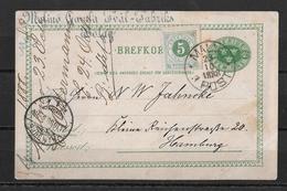 1888 Brefkort →  Malmö To Hamburg  ►with Frimärke Fem Öre ►RRR◄ - Entiers Postaux