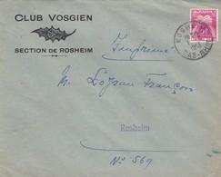 Lettre à Entête Rosheim 1953 Club Vosgien Timbre Taxe - 1859-1955 Lettres & Documents