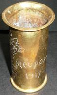 Rare Ancien Petie Vase Objet De Poilus/tranchées Gravé, Angelot Putti Putto NIEUPORT 1917 Art Populaire Gueules Cassées - Popular Art