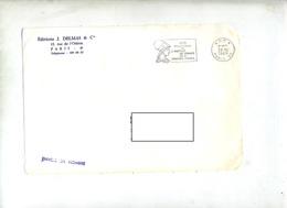 Devant De Lettre Flamme Port Paye Paris Institut De France - Marcophilie (Lettres)