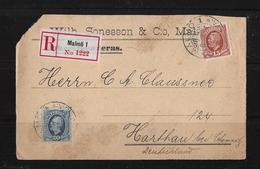 1907 Letter Rekommenderas Malmö1 (Wilh.Sonesson & Co.) To Harthau / German - Suède
