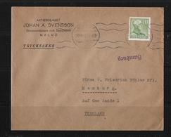 1948 Letter Aktiebolaget Johan A.Svensson Malmö To Hamburg - Suède