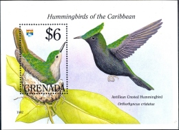 BIRDS-HUMMINGBIRDS OF THE CARIBBEAN-ANTILLEAN CRESTED -MS-GRENADA-1992-SCARCE-MNH-M2-97 - Hummingbirds
