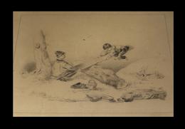 [JEUX ENFANTS BALANCOIRE ESCARPOLETTE] [Dessin à La Mine De Plomb]. Circa 1900. - Drawings