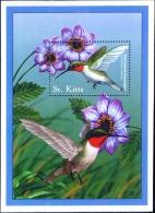 HUMMING BIRDS-RUBY THROATED HUMMINGBIRDS-MS-St KITTS-2001-SCARCE-MNH-M2-104 - Hummingbirds