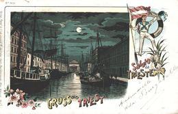 ITALIA - ITALY - FRIULI-VENEZIA GIULIA - TRIESTE, Canal Grande, Nice LITHO Card - 1899 - Trieste