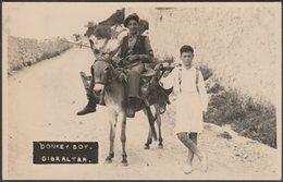 Donkey Boy, Gibraltar, C.1930s - RP Postcard - Gibraltar