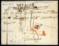 "E-PREFILATELIA. 1827. LOGROO. Haro (Logro?o) A Bordeaux (Francia). Marca """"H.Rioxa"""" (**) En Rojo (Gui.n?5), Porteo """" - Espagne"