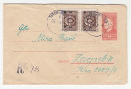 Yugoslavia Postal Stationery Letter Cover Travelled Registered 1949 Široki Brijeg To Zagreb B180520 - Ganzsachen