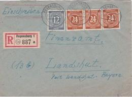 ALLEMAGNE 1947   ZONE AAS   LETTRE RECOMMANDEE DE REGENSBURG SANS CACHET ARRIVEE - Gemeinschaftsausgaben