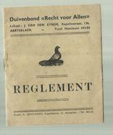 """-  **AERTSELAAR **REGLEMENT -Duivenbond """""""" Recht Voor Allen """"""""--1935 - Aartselaar"""