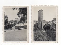 2 Photos Originales.Pont Vieux Et Foirail. Pose Ou Dépose Des Pavés. 1935. - Orthez