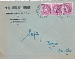 Lettre à Entête Saint Laurent Vosges 1947 Tissus à La Croix De Lorraine Pour SAPIT Rosheim - 1921-1960: Periodo Moderno