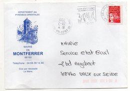 2001--flamme Et C Rond ARLES SUR TECH-66 Sur Lettre Personnalisée Mairie De MONTFERRER (clocher)- Type Marianne Luquet - Postmark Collection (Covers)