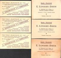 Lot Cartes De Visite - Electricité TSF Lemaire-Davin Ixelles - Visiting Cards