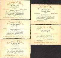Lot Cartes De Visite - Auberge D'A'mée Jambe Restaurant - Visiting Cards