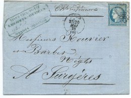 N° 60 BLEU CERES SUR LETTRE / HESDIN PAS DE CALAIS 1872 / POUR SURGERES - Marcophilie (Lettres)