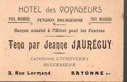 Bayonne (64 Pyrénées Atlantiques) Carte HOTEL DES VOYAGEURS (jeann Jauréguy) (PPP12542) - Advertising
