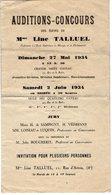 VP12.074 - Programme - Auditions - Concours Des élèves De Mme Line TALLUEL Professeur De Musique à PARIS - Programs