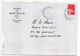 1999--cachet Rond HARDINGHEN-62 Sur Lettre Personnalisée Mairie De BOURSIN--Type Marianne De Luquet - Marcophilie (Lettres)