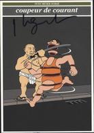 Signature Autographe Philippe Geluck Auteur BD Le Chat Sur CP Humoristique Le Chat S'expose Coupeur Courant - Autographs