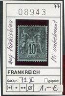 Frankreich - France - Francia -  Michel 72 II Auf Türkisblau/sur Bleu - Oo Oblit. Used Gebruikt - - 1876-1898 Sage (Type II)
