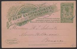 """EP Du Congo Au Type 10ctm Vert De Matadi 27/12/1898 Vers Banana + Griffe Encadré Bleu """"Matadi:carte Incomplète"""" - Stamped Stationery"""