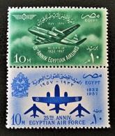 25 EME ANNIVERSAIRE ARMEE DE L'AIR ET COMPAGNIE MISRAIR 1957 - PAIRE NEUVE ** - YT 408/09 - MI 520/21 - Egypt