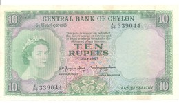 CEYLON P. 55 10 R 1953 VF - Sri Lanka