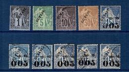 Guyane 10 Timbres Anciens 1892. Bonnes Valeurs. B/TB. A Saisir! - French Guiana (1886-1949)