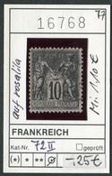 Frankreich - France - Francia -  Michel 72 II Auf Rosalila/sur Rosé-lila - Oo Oblit. Used Gebruikt - - 1876-1898 Sage (Type II)