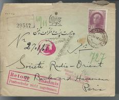 Lettre D'IRAN Pour PARIS Du 16/9/40 - Lettre Inacheminable Retour à L'expéditeur Relations Postale Interompues. - Iran