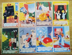 Rare Série Complète De 8 Cartes  GIBBS Illustrées Par Peynet  Année 40/50 - Peynet