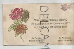 Mignonnette. Marc Léonard Ghislain Dercq Né Le 16/12/1927 à Jamioulx. - Birth & Baptism