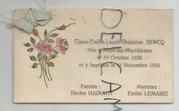 Mignonnette. Claire Emilie Laure Ghislaine Dercq Née Le 19/10/1926 à Mont-sur-Marchienne - Birth & Baptism