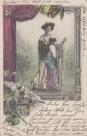 Vignes Vin Champagne - Femme - Fritz Leyde Allemagne - Eventail - Postmarked Berlin 1901 - Weinberge