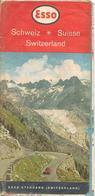 -CARTE ROUTIERE-1955-ESSO SUISSE-1 Coté ROUTES-et Carte TOURISTIQUE-BE-RARE-Petites Coupures De PLIS -a Servie - Roadmaps