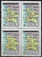 Angola 1975 Dia Do Selo Stamp's Day Jour Du Timbre Carte Map Double Surcharge OVPT, Bloc De 4 Mnh - Angola