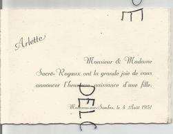 Mignonnette Double. Arlette Sacré-Royaux Née Le 04/08/1951 à Monceau-sur-Sambre - Birth & Baptism