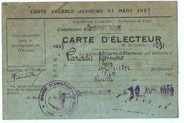 Ambérieu En Bugey (01) Ain : Carte D'électeur Avril1928 Avec Tampons Mairie Et Les Différents Votes électoraux. - Documents Historiques
