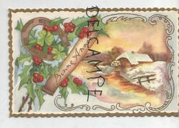 Mignonnette De Vœux. Bonne Année. Moulin à Eau, Rivière, Barrière, Fer à Cheval, Baies De Houx. Dorée. - Birth & Baptism