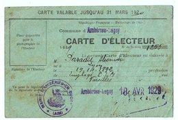 Ambérieu En Bugey (01) Ain : Carte D'électeur Avril1929 Avec Tampons Mairie Et Les Différents Votes électoraux. - Documents Historiques