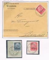 Wittisheim 14.8.1941 T.D. Double Cercle,à Pont, Sans Hachures Sur Timbres Allemands Surchargés + 2 Fragments - Alsace-Lorraine