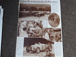 """Le Grand Prix De Vitesse Automobile à Spa- Francorchamp.Coupure De Presse Du """"Patriote Illustré"""". - Car Racing - F1"""