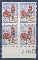 N° 1331 Coq De Decaris 25c  Daté 09-12-63 - Coins Datés