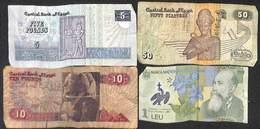 Lot 4 Billets Egypte (5 - 10 Pounds - 50 Piastre) Roumanie (1 Leu) - Billets
